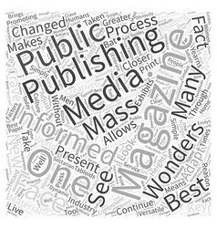 The wonders of magazine publishing word cloud vector