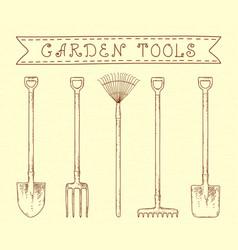 vintage garden tools vector image vector image