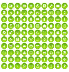 100 app icons set green circle vector