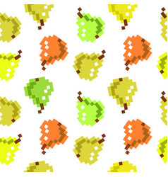 8 bit pixel seamless fruit pattern cute pattern vector