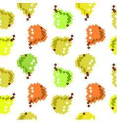 8 bit pixel seamless fruit pattern cute pattern vector