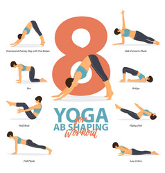 8 yoga poses for ab shaping workout vector