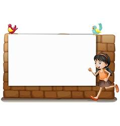 A white board girl and birds vector