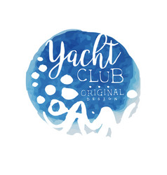 Abstract blue emblem for yacht club bright vector