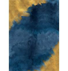 Abstract indigo blue and brush gold watercolor vector