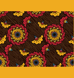 african wax print fabric ethnic handmade flowers vector image