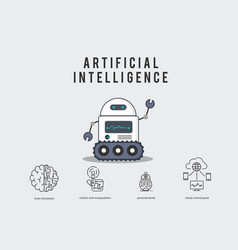 ai smart robot with technology icons vector image