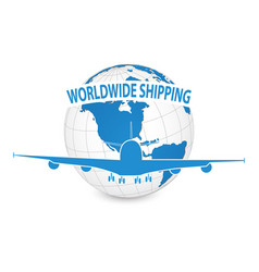 airplane air craft shipping around the world vector image