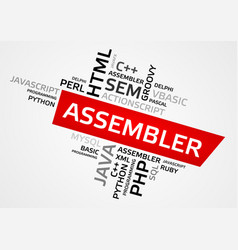 assembler word cloud tag cloud graphics vector image