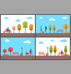 autumn park fall season scenery and walking people vector image