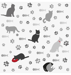 Background with cats paw print and fish bone vector image