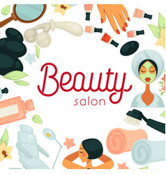 beauty salon promotiobal poster with equipment for vector image