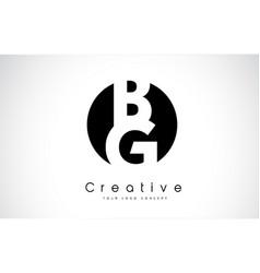 Bg letter logo design inside a black circle vector