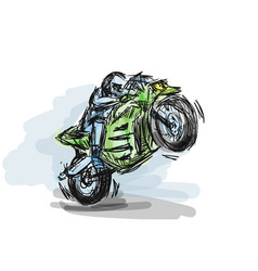 biker motorcycle with powerful motor on speed vector image