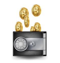 Bitcoin leather wallet fintech blockchain vector