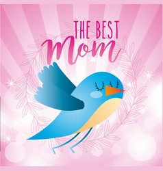Blue bird the best mom abstract stripes circles vector