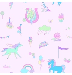 Blue unicorn on pink background with clouds vector image