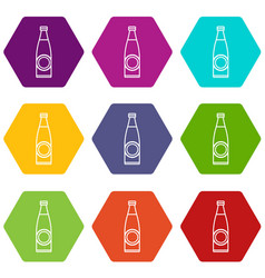 Bottle icons set 9 vector
