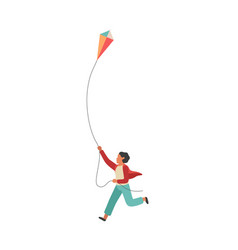boy runs with a kite happy little vector image