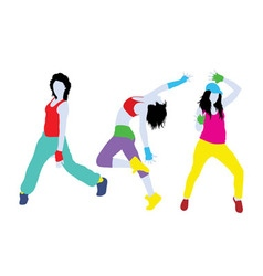 Breakdancing Girl Silhouettes vector