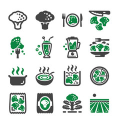 broccoli icon set vector image