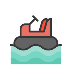 Bumper boat filled outline design editable stroke vector