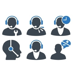 Call Center Operator Flat Icons vector