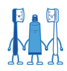 cartoon couple toothbrushes and toothpaste in blue vector image