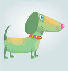 Cartoon cute purebred dachshund dog vector