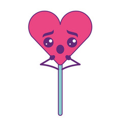 Cartoon heart lollipop kawaii character vector