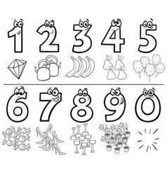 Cartoon numbers collection coloring book vector
