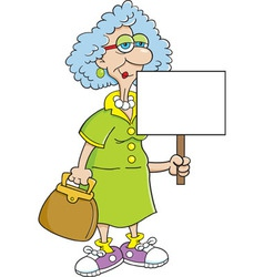 Cartoon Senior Citizen Lady with Sign vector