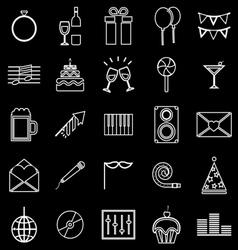 Celebration line icons on black background vector image