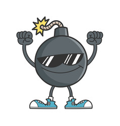 Cheering bomb character with sunglasses vector
