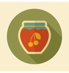 Cherry jam jar retro flat icon with long shadow vector image