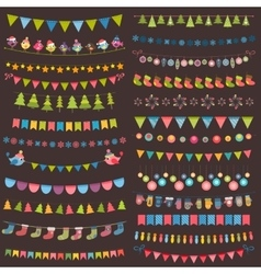 Christmas flags bunting and garland collection vector
