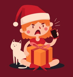 Christmas Girl Arguing at the Phone and Holding a vector