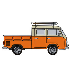 Classic orange minivan vector
