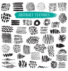 collection black ink abstract textures vector image