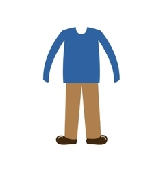 color silhouette with male clothing casual vector image
