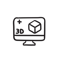 Computer monitor with 3d box sketch icon vector