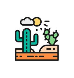 country landscape desert flat color line icon vector image