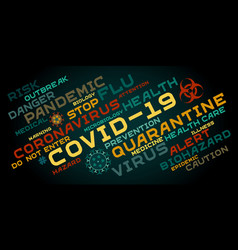 Covid-19 word tag cloud typography on a dark vector