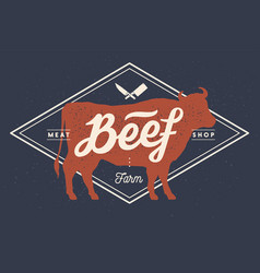 Cow bull beef vintage lettering retro print vector