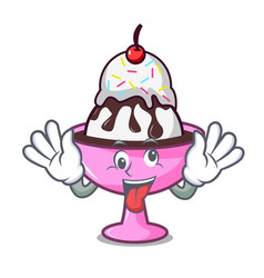 Crazy ice cream sundae mascot cartoon vector