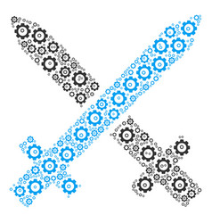 crossing swords composition of cog vector image
