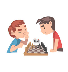 cute boys playing chess game together kids chess vector image