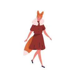 cute girl in funny fox costume flat vector image