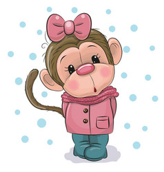 Cute monkey girl on a white background vector