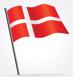 Danish flag waving on flagpole vector